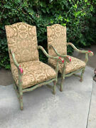 Louis Xiv Style Free Handpainted Upholstered Chairs- A Pair