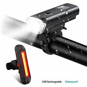 Bicycle Light Set Waterproof Front Rear Led Usb Rechargeable Lamp For Road Bike