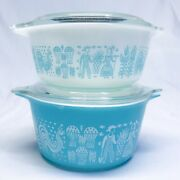 Pyrex Amish Turquoise Casserole Dishes With Lids 473 And 472 Butterprint Round