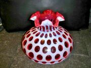 Fenton Cranberry Coin Dot Opalescent Glass 10 Rufled Lamp Shade, Great