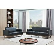 Synthetic Leather Sofa With Pocket Coil Cushions