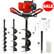 52cc Petrol Earth Auger Fence Post Hole Borer Ground Drill 3 Bits And Extension