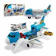 Transport Cargo Airplane Car Toy Play Set For 3+ Years Old Boys And Blue