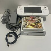 Nintendo Wii U 8gb White Console System And Gamepad Cables Fully Functional
