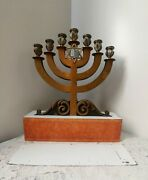 Antique Brass Metal Church Candle Holder 7 Candle Candelabra Large