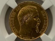 France 1860/50bb Overdate 20 Francs Gold Km 781.1/f.531/19 Ngc Certified Ms 61