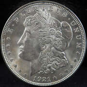 1921 P Morgan Silver Dollar Mint State Ms With Die Lines - Sku 133us