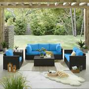 Pe Wicker Rattan Sectional Sofa Set With Tables And Cushions Patio Furniture Set