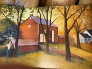 Huge Jim Lukens B1959 Farm With Ballet Dancers And Rabbits Oil Painting