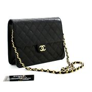 C70 Authentic Small Chain Shoulder Bag Clutch Black Quilted Flap Lambskin