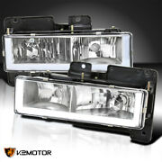 For 1988-1998 Chevy Gmc C10 C/k Truck Clear Headlights Lamps Led Strip Bar Pair