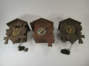 Lot Of 3 Vintage German Cuckoo Clocks For Parts Or Repair Antique Coo Coo