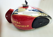 Royal Enfield 4 Gallonapprox Chrome And Red Painted Fuel Tank 1990and039s Model @pumy