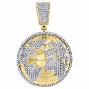 Ice 2 Ct 14k Yellow Gold Finish Pave Out 3d Dome World Map Diamond Charm Pendant