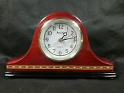 Bulova Mantle Clock Maple And Cherry Wood Works 9x5 Great Shape See Pictures