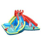 Inflatable Water Slide, Crab Themed Bouncer Park W/double Without Blower