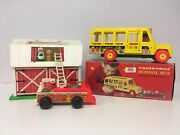 Vintage 1960s Fisher Price Toy Lot School Bus Barn Fire Engine
