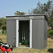 Storage Shed 4x8, Galvanized Steel Outdoor Storage Shed With Air Vent And Slide