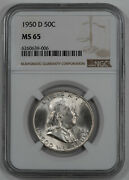 1950 D Franklin Half Dollar 50c Ngc Certified Ms 65 Mint State Unc 006