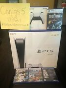 New Sony Ps5 Playstation 5 Disc Disk Console Bundle 4 Games And Extra Controller