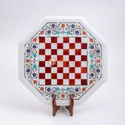 Marble White Inlaid Chess Custumize Set Top Table Best Indoor Game Gift For Her