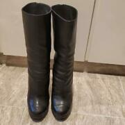 Calf Leather Middle Boots Black Size Women 7us