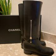 Black Leather Boots Size 38 Size Women 7.5us