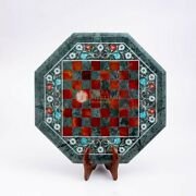 Green Marble Chess Set With Top Wooden Stand Mosaic Stone Art Chess Indoor Game