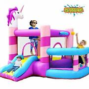 Kids Inflatable Bounce House Castle With Slide 350w Blower Ball Rim Pit Cartoon