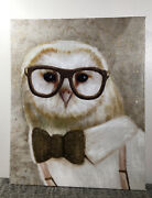Snow Owl Bird Studious Hipster In Glasses Bow Tie Painting Canvas 8andrdquo X 10andrdquo White