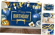 Happy Birthday Decorations Banner Large Navy Blue And Gold Balloons Backdrop