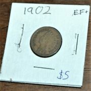 1902 Indian Head Penny Very Fine/extremely Fine Condition. Great Small Cent
