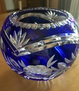 Large Cobalt Blue Hand Cut To Clear Lead Crystal Bowl - Exquisite