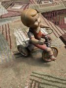 Vintage Large Tin Toy Windup Boy Tricycle Kiddy Cyclist Unique Art Mfg Co Ny Nj