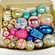 Antique Vintage Small Feather Tree Glass Christmas Ornaments Indents Berry Lot