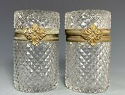Pair Of French France Glass Barrel Shape Boxes With Decorative Brass Hardware