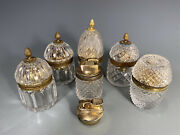 Lot Of 7 Probably French , German And Japan Glass With Brass Hardware Lighters