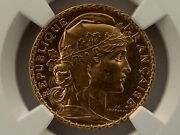 France 1905 20 Francs Gold Km 847 / F.534/10 Ngc Certified Ms 63