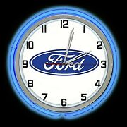19 Ford Blue Oval Logo Sign Blue Double Neon Clock