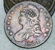 1824 Capped Bust Half Dollar 50c Ungraded Toned Good 90 Silver Us Coin Cc8455
