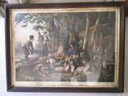 Original Currier And Ives Camping Out, Louis Mauer 1856 Lg Folio 19 X 27 1/2
