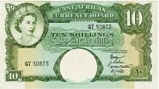 East Africa Currency Board 10 Shillings Banknote Nd1958-60 Extra Fine Pick-38