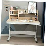 Height Adjustable Sitting Or Standing Desk With 47 Inches Wooden With Shelf