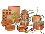 Hammered Copper Collection Andndash 20 Piece Premium Cookware And Bakeware 20 Piece Set