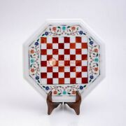 White Marble Top Chess Set Table Top Carnelian Mosaic Inlaid Arts Indoor Game