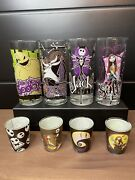Nightmare Before Christmas Glass Set Of 4 10oz Glasses And 4 Shot Glasses In Box
