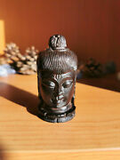 Antique Chinese Carved Wooden Buddha Head Snuff Or Spice Box