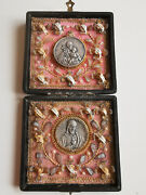 18 Relics Reliquary Antique 19th Cent Holy Saint Travel Box Our Heavenly Friends