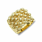 Jewelco London Mens Solid 9ct Yellow Gold 5 Row Keeper Rope Edge Ring