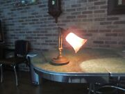 Antique All Total Brass Bank Desk Light Fixture With Carnival Glass Shade.